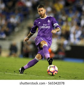 BARCELONA, SPAIN - SEPT, 18: Sergio Ramos of Real Madrid during a Spanish League match against RCD Espanyol at the RCDE Stadium on September 18 2016 in Barcelona Spain