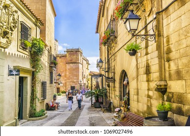 BARCELONA, SPAIN - SEPTEMBER 10, 2016: View of Poble Espanyol - Open-air museum, built in 1929, with 117 buildings showcasing Spain's typical regional architecture.