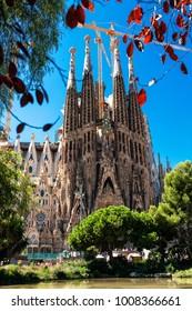 BARCELONA, SPAIN -September 10, 2017: La Sagrada Familia - Catholic church in Catalonia, Barcelona, designed by famous  Catalan architect Antoni Gaudi, at summer day