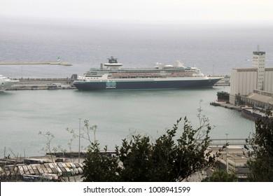 BARCELONA, SPAIN - SEPTEMBER 10, 2017: Ferryboat at Port Vell. Barcelona, Catalonia.