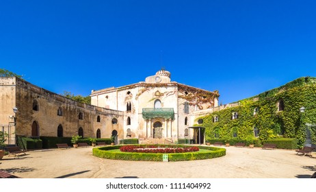 Barcelona, Spain - September 10, 2017: View of the old Desvalls Palace in the Horta's Labyrinth