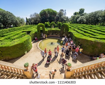 Barcelona, Spain - September 10, 2017: View of the tourists ivisiting the Horta's Labyrinth.