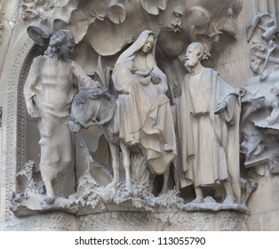 BARCELONA, SPAIN - SEPTEMBER 10: Sculptures on Sagrada Familia - the impressive cathedral designed by Gaudi, is being build since 1882 and is not finished yet September 10, 2012 in Barcelona, Spain.