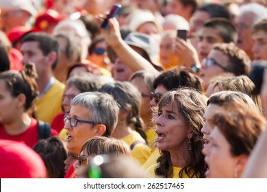 BARCELONA, SPAIN - SEPTEMBER 11, 2014: People at rally demanding independence for Catalonia in 300th anniversary of loss of independence