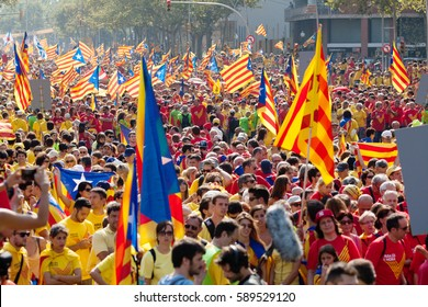 BARCELONA, SPAIN - SEPTEMBER 11, 2014: People at rally demanding independence for Catalonia (The National Day of Catalonia). Barcelona, Catalonia
