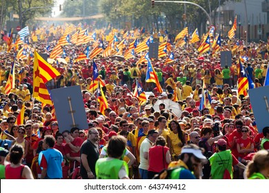 BARCELONA, SPAIN - SEPTEMBER 11, 2014: People at rally demanding independence for Catalonia (National Day of Catalonia)