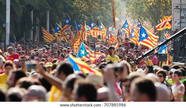 BARCELONA, SPAIN - SEPTEMBER 11, 2014: Rally in 300th anniversary of  loss of independence of Catalonia. Barcelona, Spain