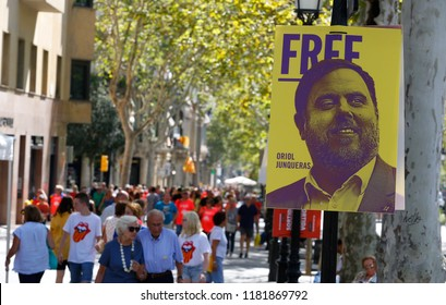 Barcelona, Spain - September 11, 2018: Citizens coming from all around Catalonia celebrate in Barcelona their Diada, a yearly Catalan Nationalism celebration.