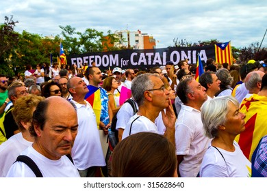BARCELONA, SPAIN - SEPTEMBER 11TH, 2015: Catalan independent people during the Diada of Catalonia in Meridiana Avenue in Barcelona, on September 11 th 2015.