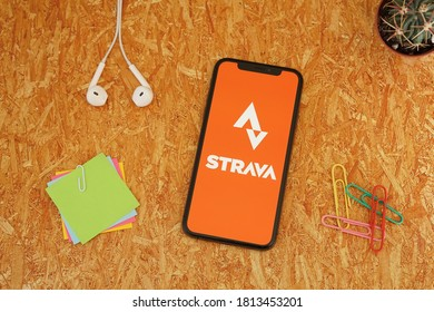 Barcelona, Spain - September 12, 2020; Strava App with Paperclips and Colored Sticky Notes. Strava is a social-fitness network app. #Strava