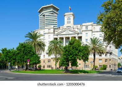 BARCELONA, SPAIN  - SEPTEMBER 13, 2018: Government building (military commandant's office, Comandancia Naval de Barcelona, Sector Naval de Catalunya), Barcelona, Spain