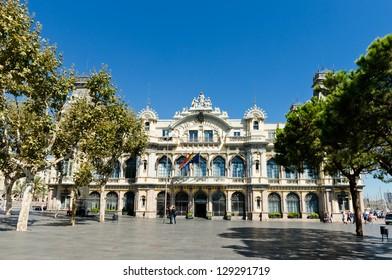 BARCELONA, SPAIN - SEPTEMBER 14: Edifici de la Duana building on September 14, 2012 in Barcelona, Spain.  More than 7 million visitors were in Barcelona in 2012.
