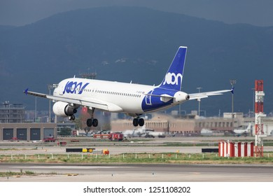 Barcelona, Spain - September 16, 2018: Joon Airbus A320 landing at El Prat Airport in Barcelona, Spain.