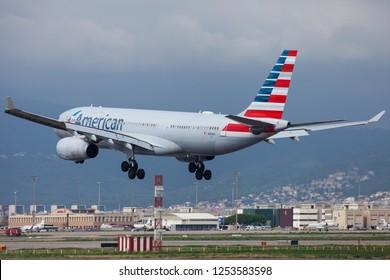 Barcelona, Spain - September 16, 2018: American Airlines Airbus A330-200 landing at El Prat Airport in Barcelona, Spain.