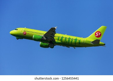Barcelona, Spain - September 16, 2018: Siberia Airlines Airbus A320 taking off from El Prat Airport in Barcelona, Spain.