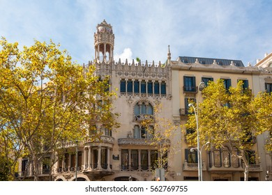 Barcelona, Spain - September 19, 2014: The Casa Lleo Morera is a building designed by noted modernisme architect Lluis Domenech i Montaner, located at Passeig de Gracia, Barcelona.