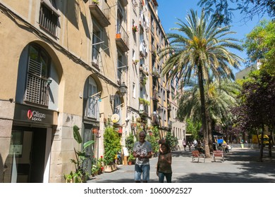 Barcelona, Spain - September 2, 2017: Old streets of the Gothic Quarter of Barcelona, Catalonia. It is centre of old city of Barcelona. Center of touristic life