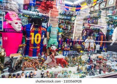 Barcelona, Spain - September 20, 2017: Souvenir shop with Barça shirts in Les Rambles of Barcelona, Catalonia, Spain