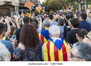 Barcelona, Spain - September 20, 2017: People at rally demanding independence for Catalonia