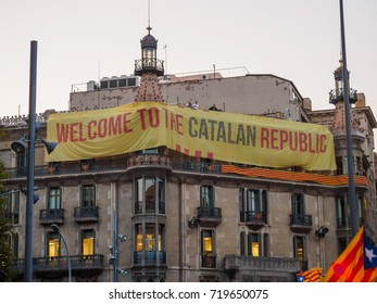 BARCELONA, SPAIN - SEPTEMBER 20, 2017:  Huge banner hanging on the facade of Economy's Department Official Building
