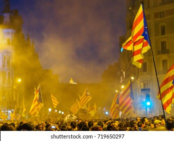 BARCELONA, SPAIN - SEPTEMBER 20, 2017: Catalan demonstration for self-determination at night, in the steets of Barcelona
