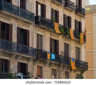 BARCELONA, SPAIN - September 20, 2017: Flags and banners were hung from many windows, balconies and buildings in Barcelona in support of the Catalan Referendum supporting an independent republic.