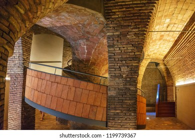 BARCELONA, SPAIN - SEPTEMBER 2018: Inside the Palau Guell palace designed by Antonio Gaudi in Barcelona.