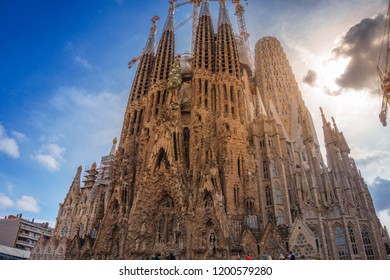 BARCELONA, SPAIN - SEPTEMBER 2018: Sagrada Família (Basilica and Expiatory Church of the Holy Family) is a large Roman Catholic church in Barcelona city, designed by Catalan architect Antoni Gaudí.
