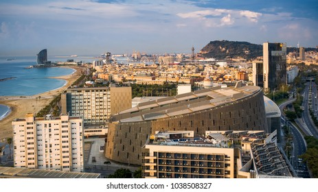 BARCELONA, SPAIN - September 23, 2017: View on Barcelona from room 2314 at Hotel Arts - Barcelona, Spain