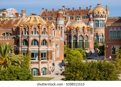 BARCELONA, SPAIN - September 23, 2017: The inner courtyard of Hospital de la Santa Creu i Sant Pau, or Hospital of the Holy Cross and Saint Paul in English, designed by Lluis Domenech i Montaner