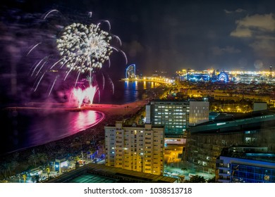 BARCELONA, SPAIN - September 23, 2017: View from room 2314 at Hotel Arts on the fireworks at the occasion of La Mercè Festival - Barcelona, Spain