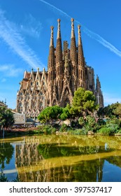 Barcelona, Spain - September 24, 2016: Cathedral of La Sagrada Familia. It is designed by architect Antonio Gaudi and is being build since 1882.