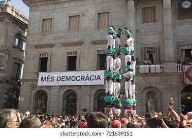 Barcelona, Spain - September 24, 2017  Casteller activities in La Merce festivities at Sant Jaume Square, Barcelona.