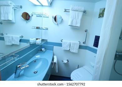 Barcelona, Spain - September, 24th 2019: Costa Magica standard inside cabin bathroom