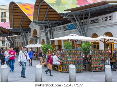 Barcelona, Spain - September 28, 20012:  People in front of he Santa Caterina market