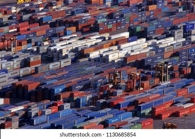 BARCELONA, SPAIN - SEPTEMBER 28 2011: industrial port of Barcelona, Spain. containers for shipping