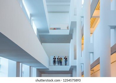 Barcelona, Spain - September 29, 20012:  People between the modern architectures of the MACBA (Contemporary Art Museum)