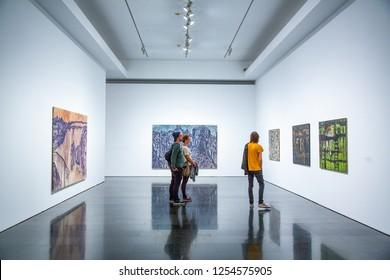 Barcelona, Spain - September 29, 20012: Visitors in the MACBA (Contemporary Art Museum)