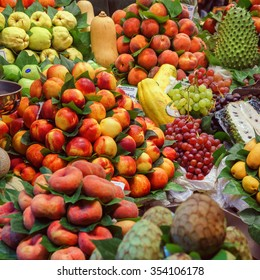 BARCELONA, SPAIN - September 29: Fresh Vegetables and Fruits in market on September 29, 2015 in Barcelona, Spain. Famous La Boqueria market / photography of the variety of fruits at the market.