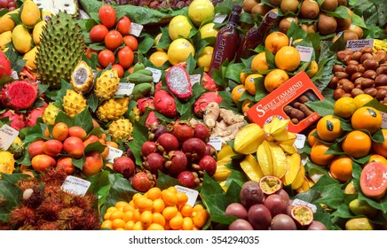 BARCELONA, SPAIN - September 29: Fresh Fruits in market on September 29, 2015 in Barcelona, Spain. Famous La Boqueria market / photography of the variety of fruits at the market.