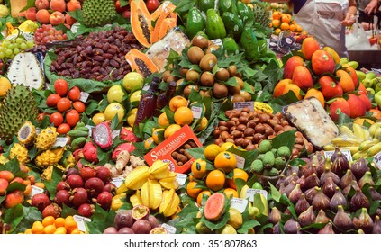 BARCELONA, SPAIN - September 29: Healthy Fruits in market on September 29, 2015 in Barcelona, Spain. Famous La Boqueria market / photography of the variety of fruits at the market.