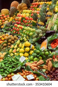 BARCELONA, SPAIN - September 29: Organic Vegetables in market on September 29, 2015 in Barcelona, Spain. Famous La Boqueria market / photography of the variety of fruits at the market.