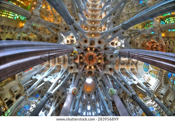 Barcelona, Spain- September 29: The Sagrada Familia - the ceiling of the cathedral designed by Gaudi, which is being build since 1882 and is not finished yet. September 29, 2014 in Barcelona, Spain.