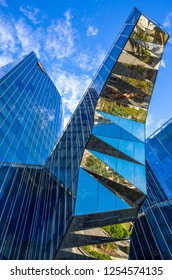 Barcelona, Spain - September 30, 20012:  Upward view of the modern architectures of Gas Natural building