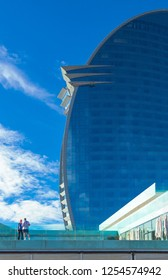 Barcelona, Spain - September 30, 20012:  The modern architectures of the  Hotel W  on the seafront
