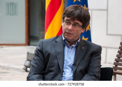 BARCELONA, SPAIN - SEPTEMBER 30, 2017 : Carles Puigdemont, President of the Generalitat of Catalonia. One of the main actor campaigning for Catalonia independance.