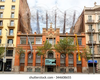 Barcelona, Spain - September 6, 2015: House with the composition of the wire on the roof of the cloud and chair. The work Antoni Tape. One of the attractions of Barcelona.