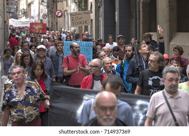 BARCELONA, SPAIN – SEPTEMBER 9, 2017: Veinat del Raval - The Raval residents take to the streets in protest of degenerating conditions of the borough.