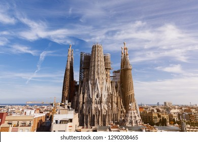 BARCELONA, SPAIN - SEPTEMBER 9, 2018 : La Sagrada Familia in Barcelona. Cathedral was originally designed by Antoni Gaudi is still being built since 1882