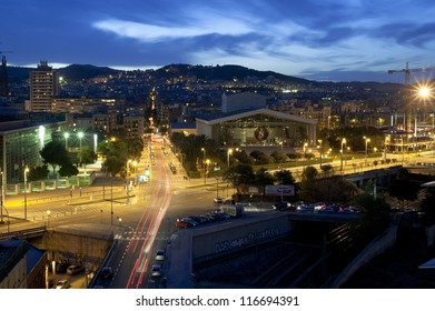 Barcelona, Spain skyline at night. View at National Theater of Catalonia